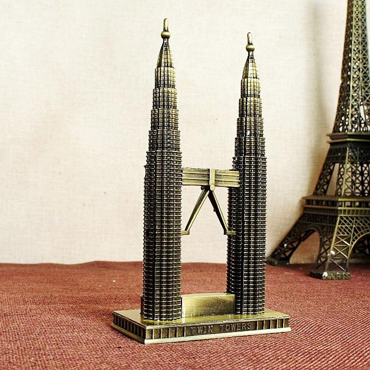 Petronas Twin Towers Modern World Famous Statue Figurine Miniature In Kuala Lumpur Malaysia Home