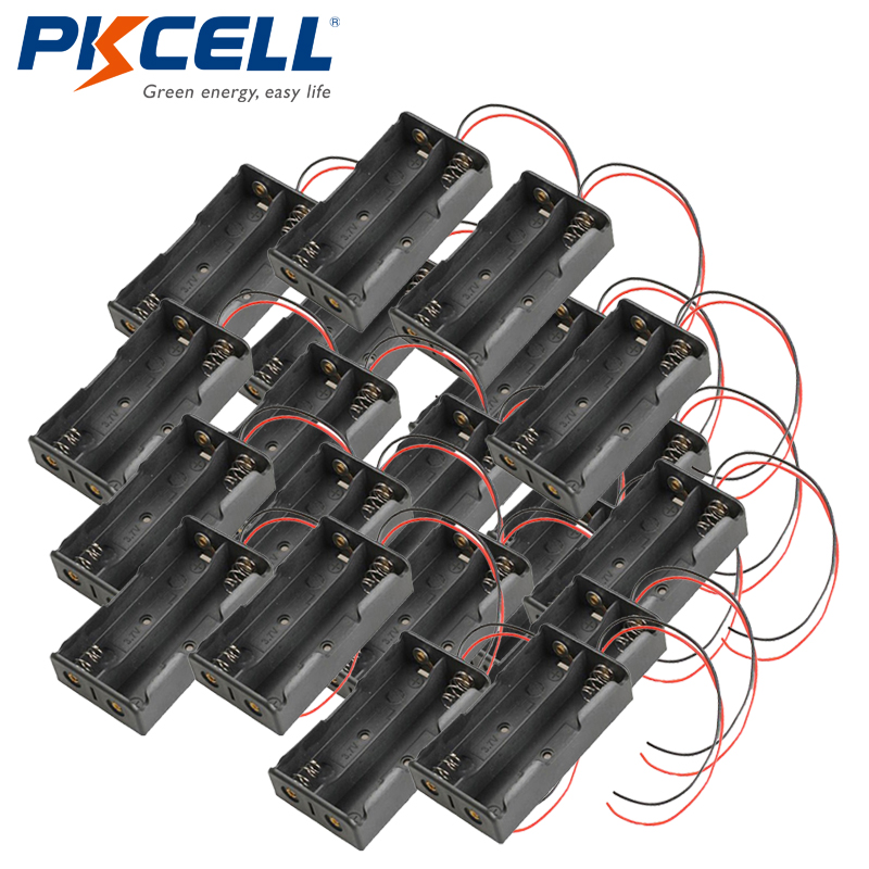 best service 4a903 2d738 PKCELL 20pcs New 2x 18650 / 17500 / 18500 Battery Cells Clip Holder Box  Case Black With Wire Leads