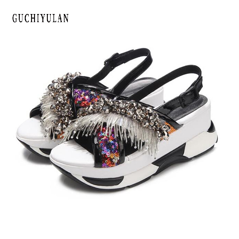 ladies summer rhinestone sandals Shoes Women Platform Wedge Gladiator Sandals sheepskin+Crystal Sequins High Heels Shoes Woman candy color pompom wedge sandals braid platform high heel lace up gladiator sandals women pumps fringe summer ladies shoes woman