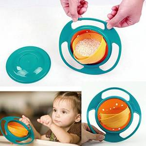 360 Rotate Plastic Baby Dishes Feeding Spill Bowl