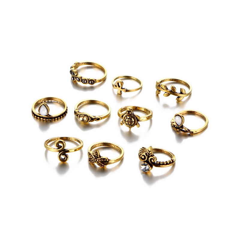10Pcs/set Crystal Finger Rings Sets Vintage Gold Silver Color Hollow Turtle Starfish Cross Knuckle Rings For Women Jewelry