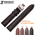 18mm 19mm 20mm 22mm Available New High quality Black Sweatband Genuine Leather Watch Bands Strap Butterfly Steel Clasp Buckle