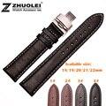 18mm 19mm 20mm 22mm Disponible Nueva Alta calidad Negro Sweatband Genuine Bandas Reloj de Cuero Correa de La Mariposa Cierre de Hebilla De acero