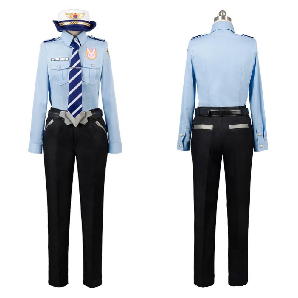 Game OW DVA Cosplay Cosplay DVA Hana Song Police Officer Uniform Halloween Cape Buffalo Police Cosplay Costume Tailor Made