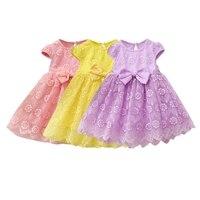 Hot Sale Summer Casual Baby Girls Lace Mesh Dress Bowknot Design Short Sleeve Kids Toddler Pageant Princess Mesh Sundress