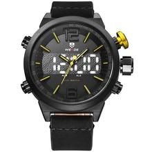 цены на Weide Brand Luxury watch Men Sports leather Watches LED Digital Quartz Wrist Watches business analog men watch water resistant  в интернет-магазинах
