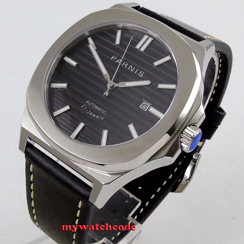 44MM parnis black dial date widnow luminous miyota 821A automatic movement mens watch 40mm parnis black dial date widnow stainless steel strap vintage automatic movement mens watch p24