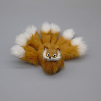 cute simulation nine-tails fox toy resin&fur yellow fox doll gift about 18x7.5cm gift a339 image