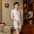 Spring and summer cotton embroidered retro short cheongsam dress white and pink colors qi pao vestidos