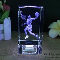 NBA basketball star James Harden model K9 Crystal lightl ornaments fans gift 3D Laser Engraved Crafts LED Small Night Light