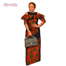 African Straight Dresses for Women Plus Size Dashiki Bazin Riche Patchwork Long Maxi Dress Traditional African Clothing WY1742 цена