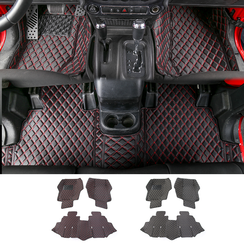 MOPAI Leather Car 4 Door Custom Floor Mats Carpets Foot Pads For Jeep Wrangler 2007 Up Interior Decoration Car Styling for mazda cx 5 cx5 2nd gen 2017 2018 interior custom car styling waterproof full set trunk cargo liner mats tray protector