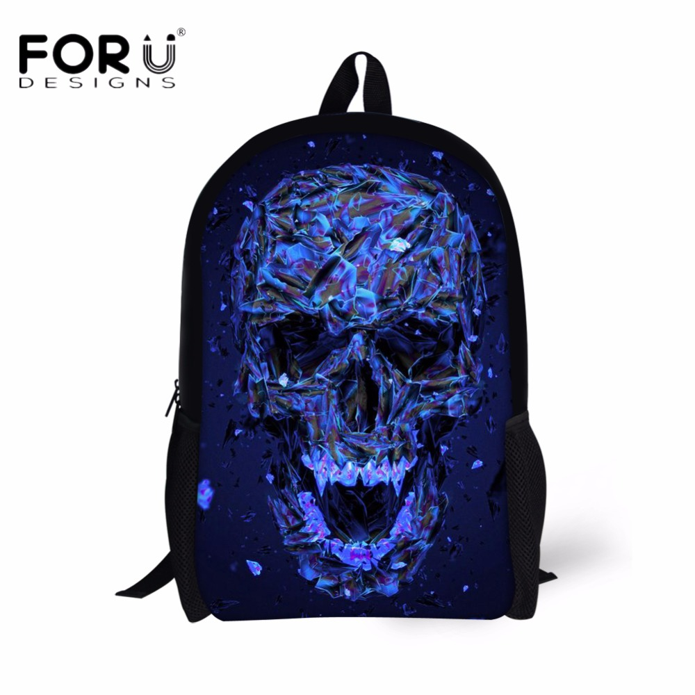 FORUDESIGNS Cool Punk Skull Printed Children School Bags Stylish Starlight Men Schoolbag for Teenager Boys Backpack
