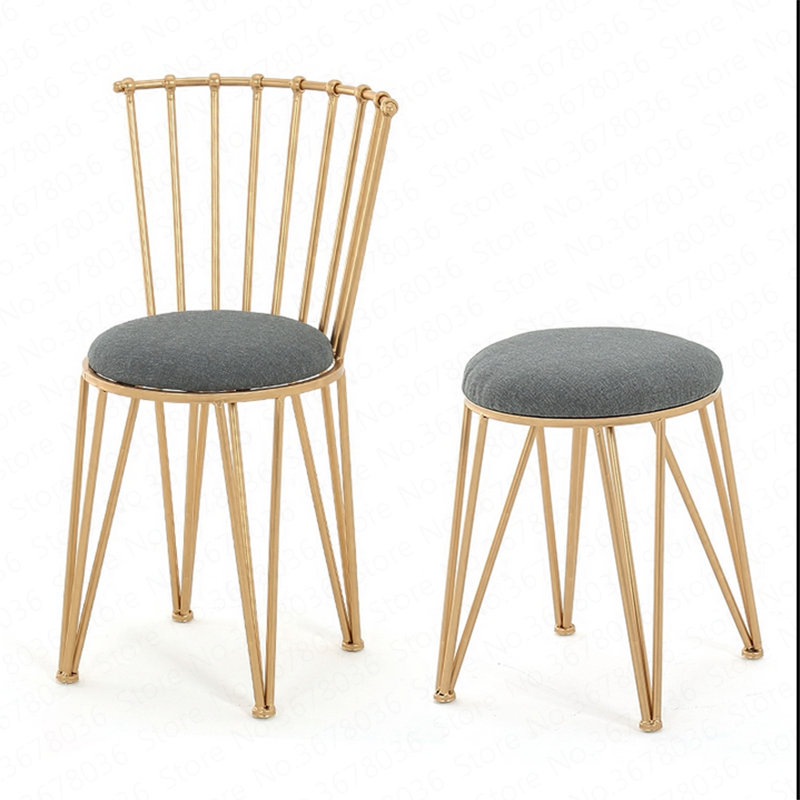 New Nordic Creative Dining Chair Personality Simple Modern Golden Chair  Casual Restaurant Metal Dressing Stool Office Chair