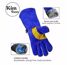 цена на KIM YUAN 009/011L Leather Welding Gloves-Heat/Fire Resistant, for Gardening/Tig Weld/Beekeeping/BBQ -Blue-yellow 14in&16Inches