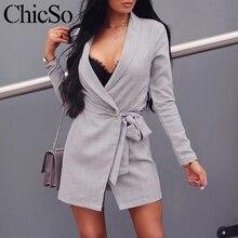 MissyChilli серый плед с длинным рукавом платье-пиджак для женщин Повседневное тонкая куртка дамы костюм Auutmn зима элегантный офисная одежда пикантны