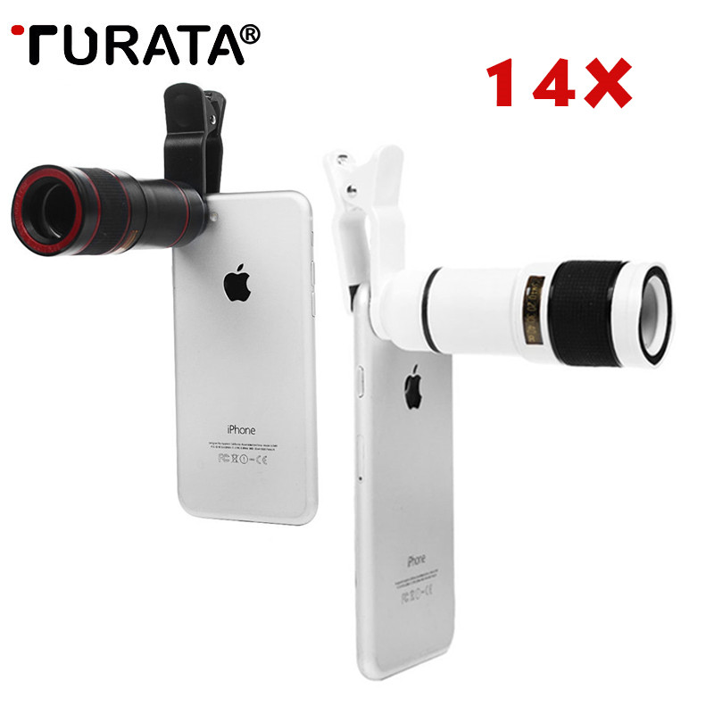TURATA Universal Telephoto lens 14X Zoom Mobile Phone Lens for iphone Samsung Smartphones Universal Clip Phone Camera Lens