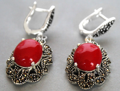 """earring   amazing 11/2"""" Vintage 925 NEW Marcasite Red Coral real Natural stone 925 Sterling NEW wedding jewelry earrings