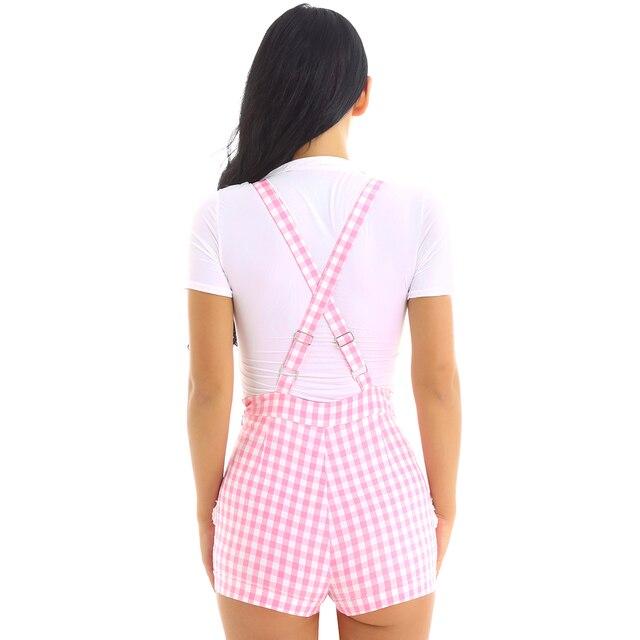 iiniim Adult Womens Cute ABDL Clothing Baby Patch Criss-cross Back Gingham Print Babydoll Short Overalls Shortalls Jumpsuits 3