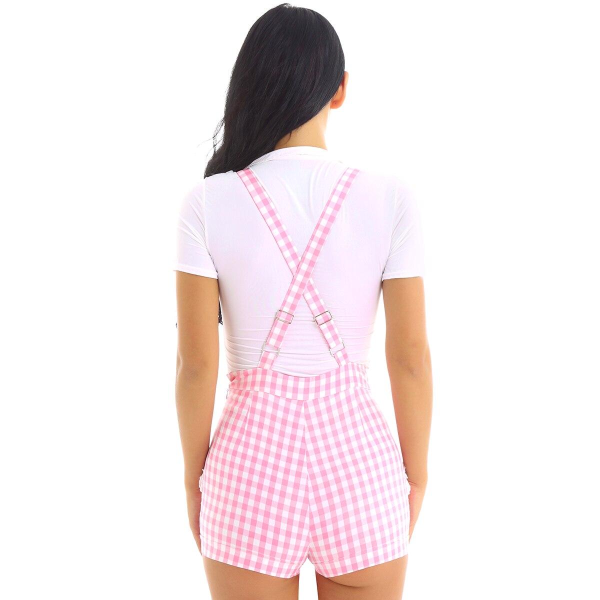 Женская милая школьная одежда; детская одежда с регулируемыми лямками и перекрещивающимися на спине полосками; короткие комбинезоны с принтом