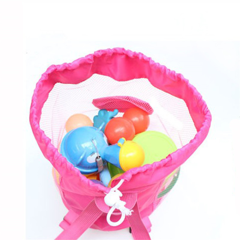 Foldable Beach Toy Bag Sand Away Beach Storage Pouch Tote Mesh Bag Travel Toy Organizer Sundries Net Drawstring Storage Backpack 3