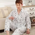 2017 Primavera Outono Inverno Men 100% Algodão Conjuntos de Pijamas de Sleepshirt & calças Adulto Roupas Casuais Casa & Sleepwear Plus Size 3XL