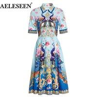 AELESEEN Bohemain Women Dress 2018 Runway Summer Elegant Fashion Bow Print Peacock Flower Slim Dresses Luxury Dress for Women