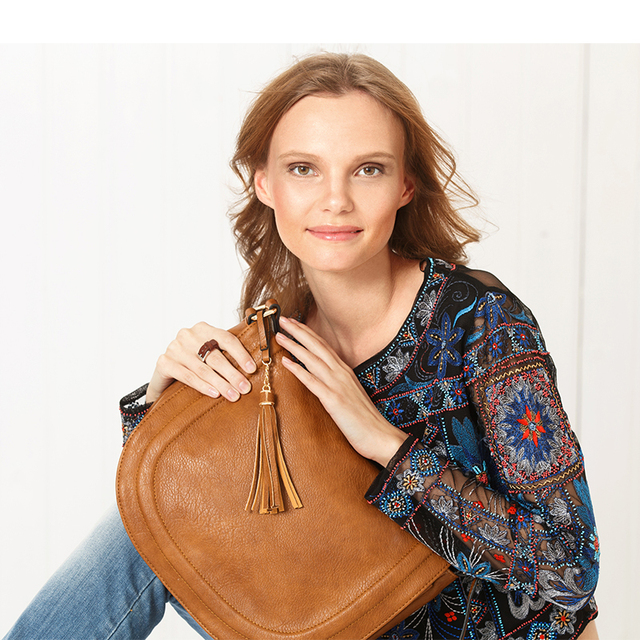 AMELIE GALANTI Large Saddle Bag Crossbody Bags for Women Brown Flap Purses with Tassel Over the Shoulder Long Strap 2