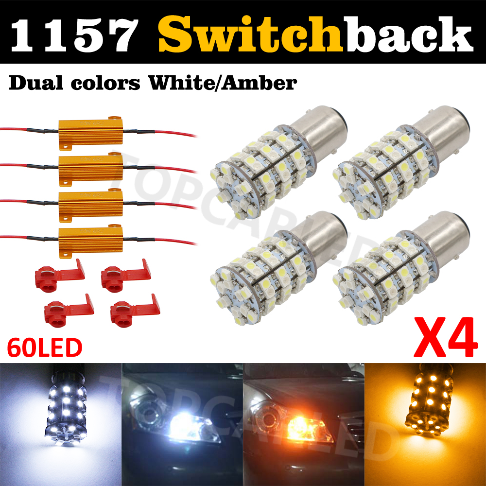 BAY15D 1157 Switch back 60 SMD Turn Signal Tail Brake 60 LED Light Bulb p21/5w Dual-Color  (60-White 60-Amber) + Load Resistor cyan soil bay amber yellow orange 1157 bay15d p21 5w 33 5730 33smd led brake turn signal rear light bulb 12v 24v