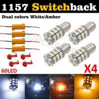 Bay15d 1157 60 smd بدوره إشارة التبديل الذيل الفرامل 60 led ضوء لمبة p21/5 واط ثنائي اللون (60-White 60-Amber) + تحميل المقاوم