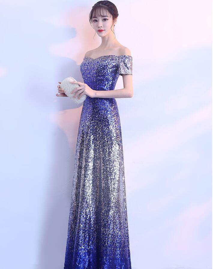 f7baa8652f Robe Blue Anniversaire Chanteur Femmes Longue Scintillante Gradient  Paillettes Sexy Pièce Célébrer Bleu Soirée Pour ...