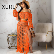 XURU Summer New Womens Sexy Dress Two-Piece Cutout Fashion Grid Fringe Perspective