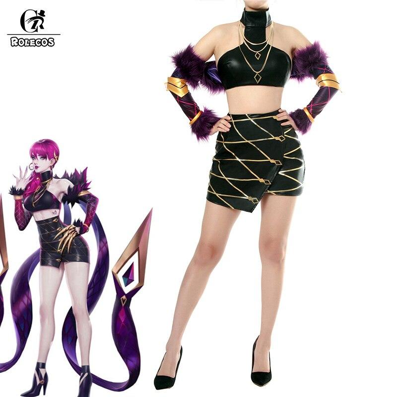ROLECOS Game LOL K DA Evelynn Cosplay Costume LOL KDA Evelynn Cosplay Costume Women Sexy Leather