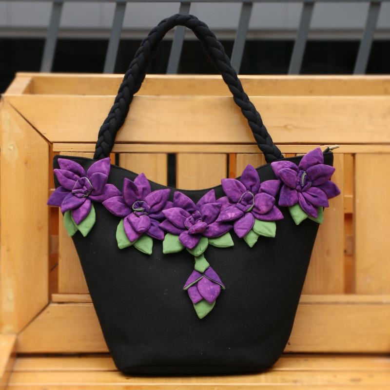 Femmes toile sac à bandoulière fait main fleur sac à main grande capacité femme Vintage Floral sac fourre-tout jaune bleu Bolsas Feminina