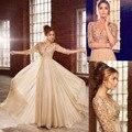 Robe de soirée Longo Prom Dresses V Neck Mangas meia Pérolas Chiffon Champagne Vestido de Noite Formal Vestido de Festa vestido de noite