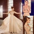 Robe de soiree Long Prom Dresses V Neck half Sleeves Chiffon Pearls Champagne Formal Evening Dress Party Dress vestido de noite