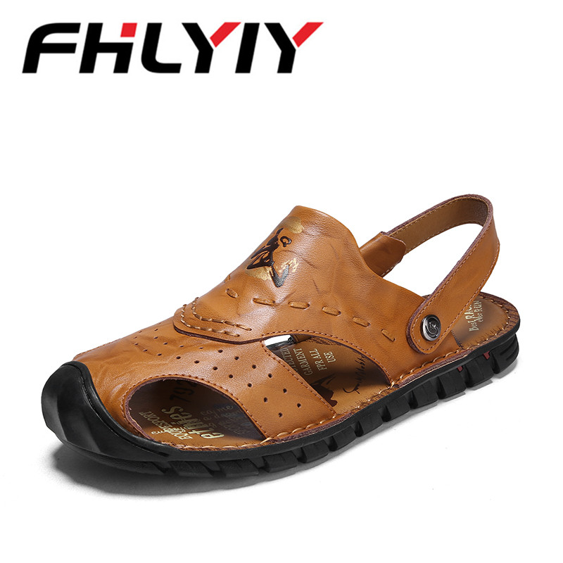 New Arrival Soft Leather Beach Sandals for Men Handmade Hollow Leather Summer Beach Shoes Male Retro Sewing Classics Sandales