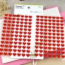 168 шт Мини Размер нетканый войлок ткань красное сердце наклейка Скрапбукинг Украшение для ноутбука DIY клей ремесло