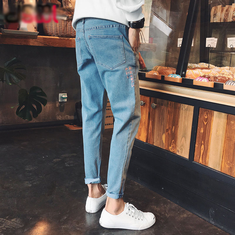 Trend Fashion Spring Summer Autumn New Men's   Jeans   Pants Youth Slim Feet Wash Men's N Denim Trousers   Jeans   Men