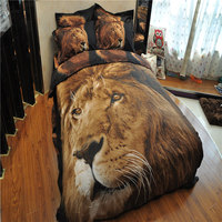 Animal Style Home Fashion Luxury Bedding Set Lion pattern Comforter and Pillowcases and Black Sheets Super King Size Duvet Set