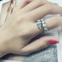 Famous brand replica jewelry snake ring,one circle luxury animal rings with cubic zircon sterling silver party ring