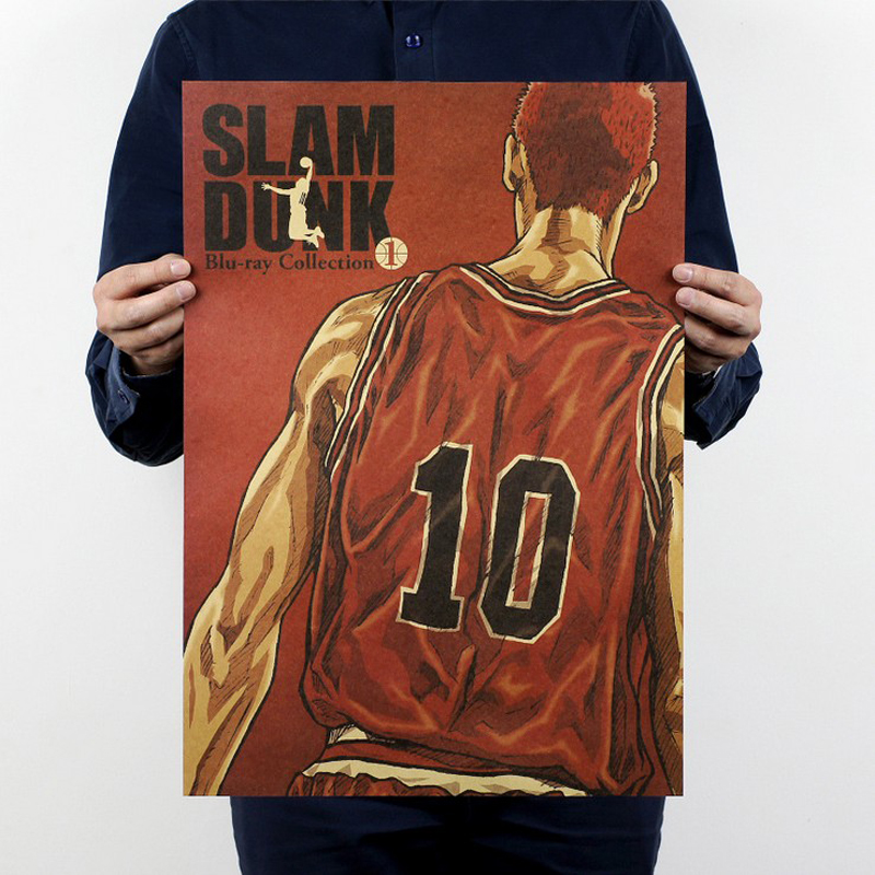 Hanamichi Sakuragi,SLAM DUNK b style/classic Cartoon Comic/kraft paper/bar poster/Retro Poster/decorative painting 51x35.5cm