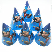 6Pcs Disney Mickey Mouse Theme Disposable Paper caps Girl Birthday Party Decoration Baby Shower Wedding Party Supplies for kids(China)
