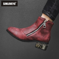 SIMLOVEYO Ankle boots for women Poonted toe Zipper Thick heel Pu leather Size 32 48 Wine red zapatos de mujer gothic shoes B1446