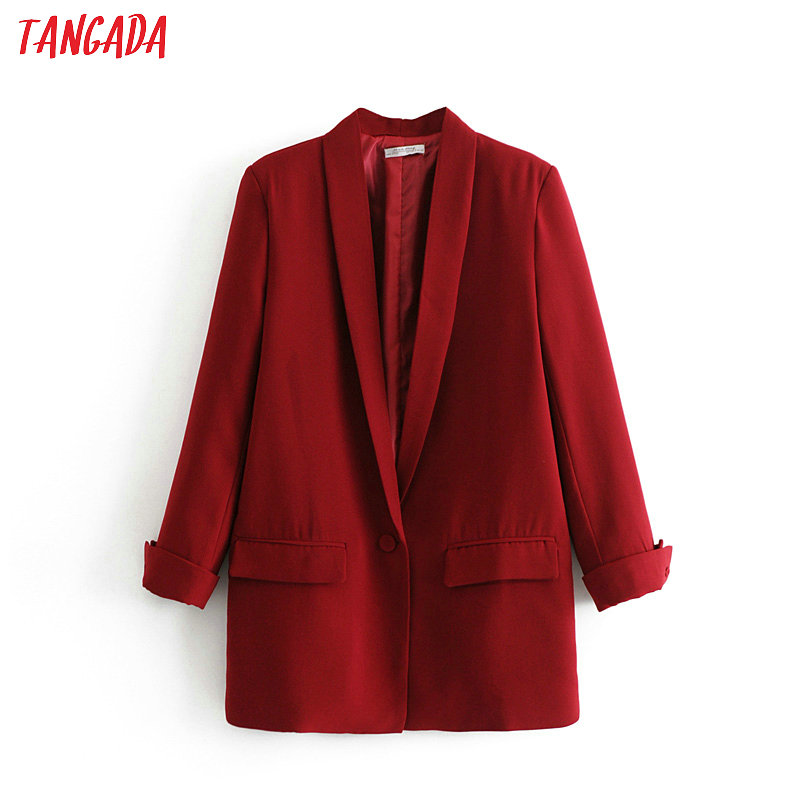 Tangada Fashion Red Black Blazer Woman Long Sleeve Notched Collar Coat Elegant Ladies Work Casual Brand DA17