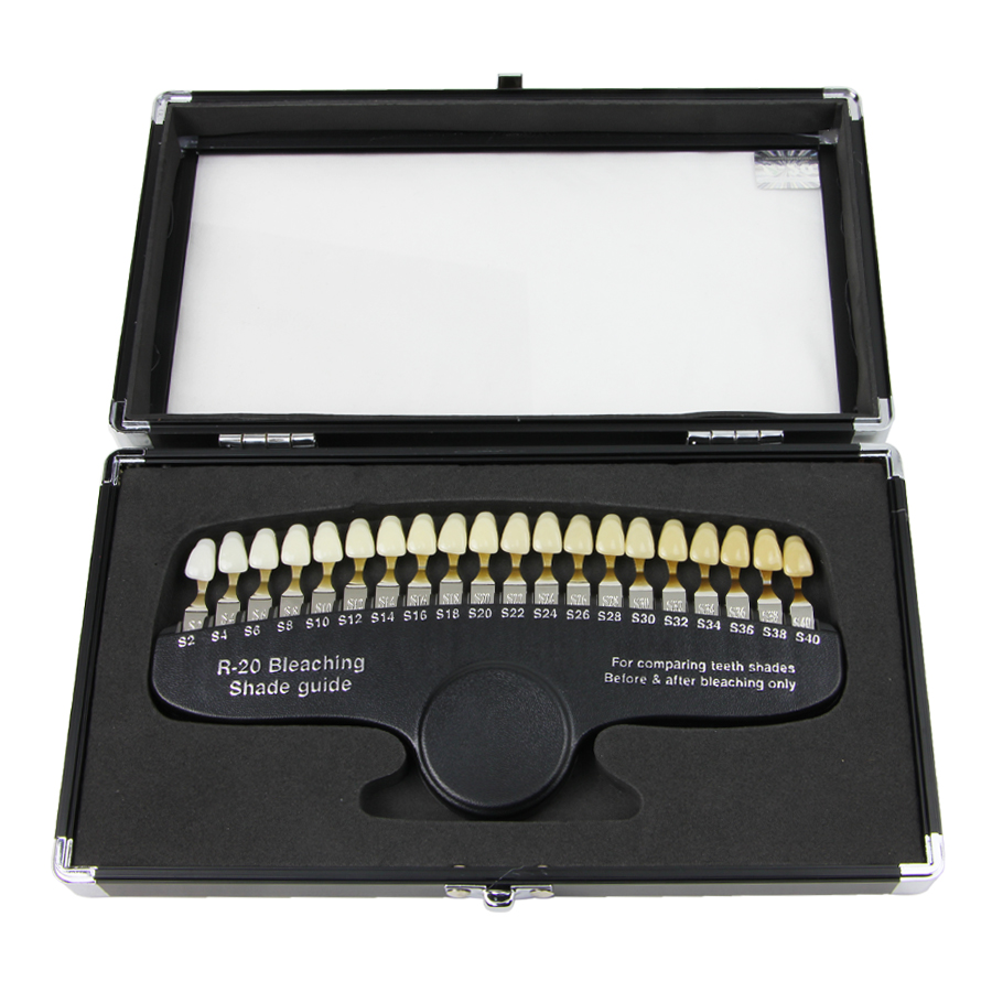 Teeth Whitening Accelerator R20 Professional Dental Teeth Shade Guide 20 Shades with Mirror