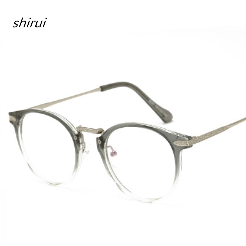 Vintage Men Women Eyeglass TR90 Metal Frame Glasses Round Spectacles Clear Lens Optical Very Light TR Blue Film