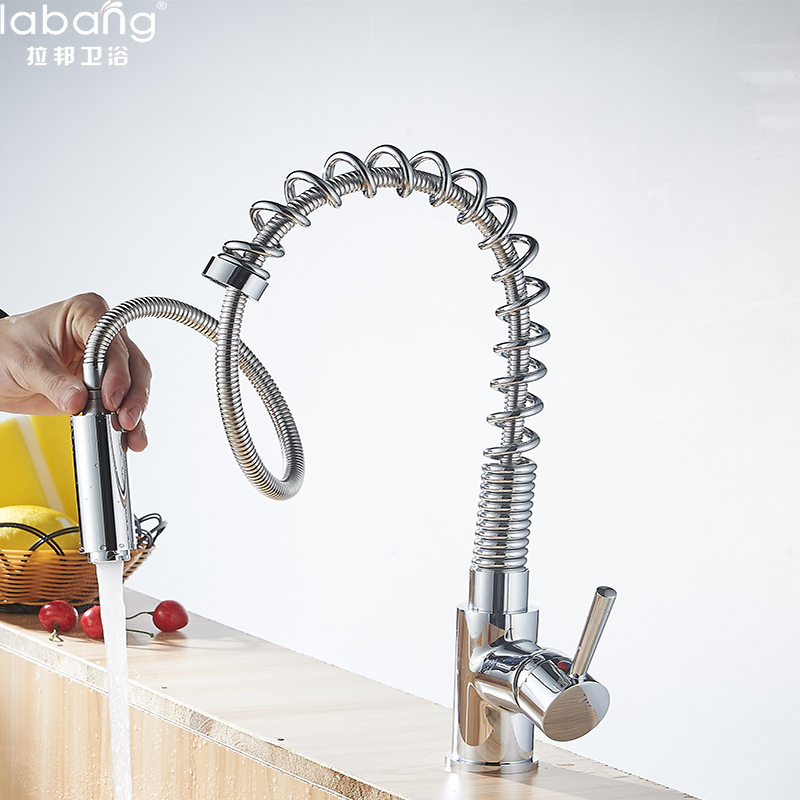 Labang Chrome Finish Dual Spout Kitchen Sink Faucet Deck Mount Spring Kitchen Mixer Tap Kitchen Hot and Cold Water tap good quality wholesale and retail chrome finished pull out spring kitchen faucet swivel spout vessel sink mixer tap lk 9907