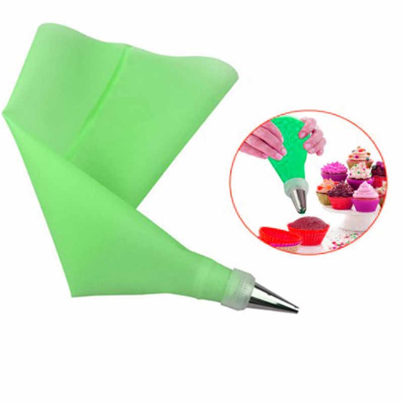 Seaanbaking Alat Dekorasi 1PC Dapat Digunakan Kembali Kembang Gula Silikon Lapisan Es Pipa Krim Tas Kue Squeeze Nozzle Kue Dekorasi