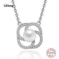 Classic 100 925 Sterling Silver Round Shape Pendant Necklaces With Freshwater Pearl For Women Fine Jewelry